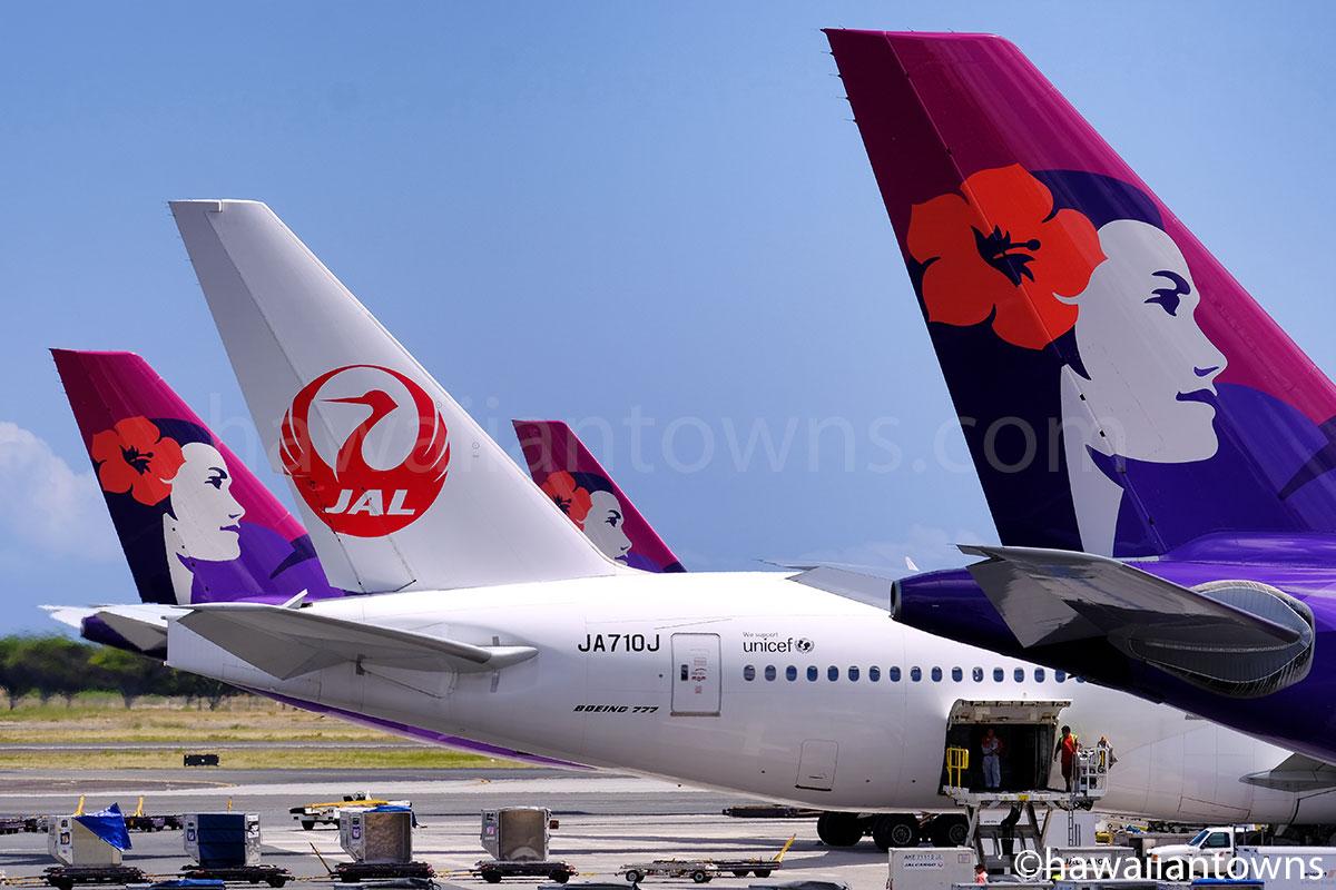 JALとハワイアン航空機