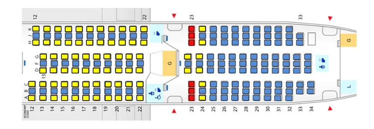 対象座席例:ボーイング787-8型機(240席仕様)