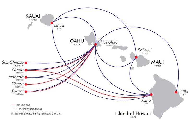 JALとハワイアン航空の日本=ハワイ間路線図