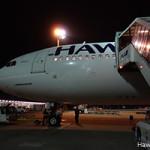羽田空港で乗客を迎えるハワイアン航空機