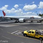 ホノルル空港に駐機するJAL機