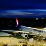 成田空港に駐機中のハワイアン航空機