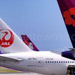 ホノルル空港でのJALとハワイアン航空機